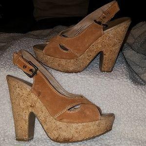 Xhiliration Leather Cork Bottom Heels Sz 7